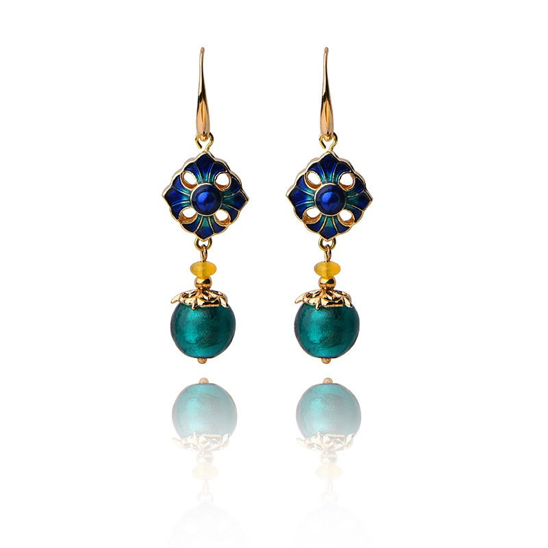 Luxury Retro Dangle Earrings Cloisonne Flower Agate Handmade Gold Earrings for Women Ethnic Jewelry