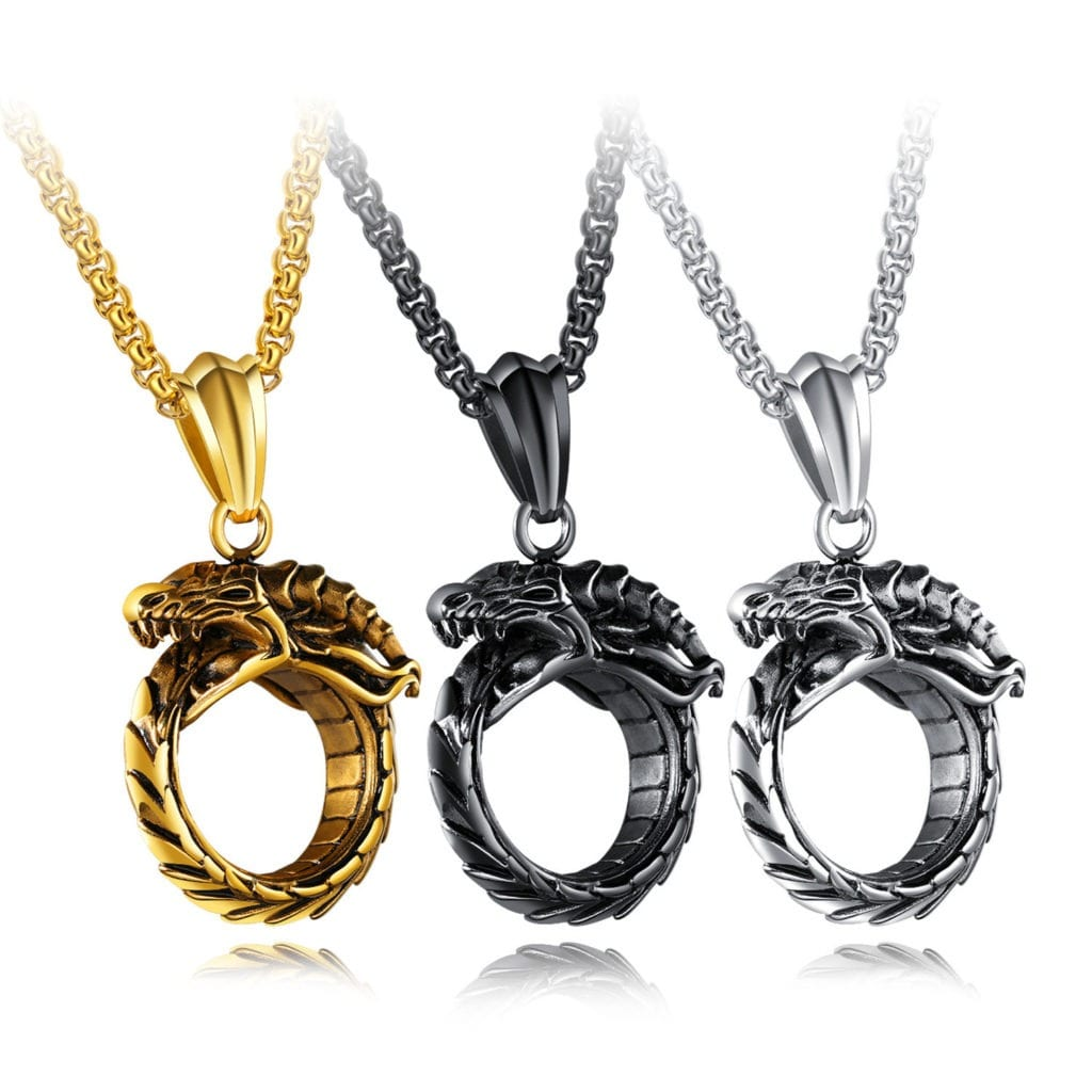 Punk Men's Stainless Steel Ouroboros Serpent Bite Tail Charm Necklace Vintage Jewelry for Men