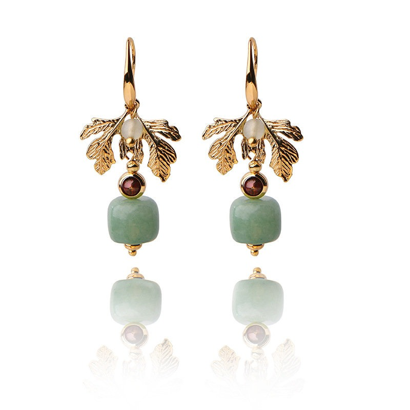 Ethnic Jewelry Vintage Handmade Earrings Luxury Gold Leaf Jade Charm Dangle Earrings for Women