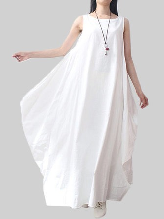 Asymmetrical Solid Color Sleeveless Pocket Loose Linen Dress