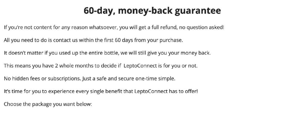 Leptoconnect Moneyback
